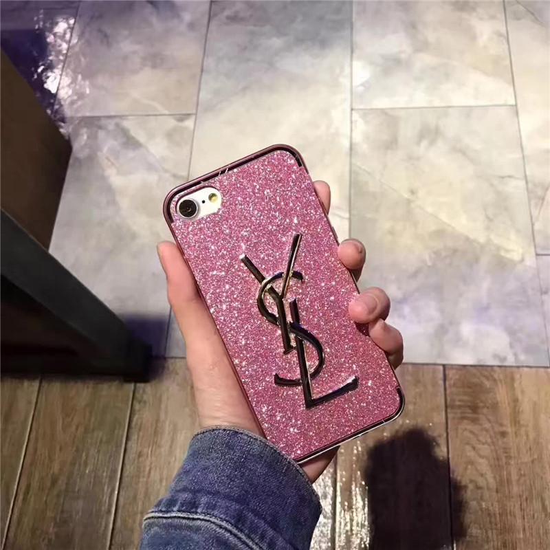 イヴサンローラン iPhone8plus/iPhone6sカバー ピンク 芸能人