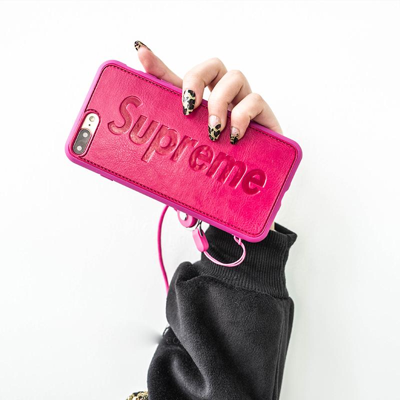 Supreme iPhone8スマホケース 革 ピンク ストラップチェーン