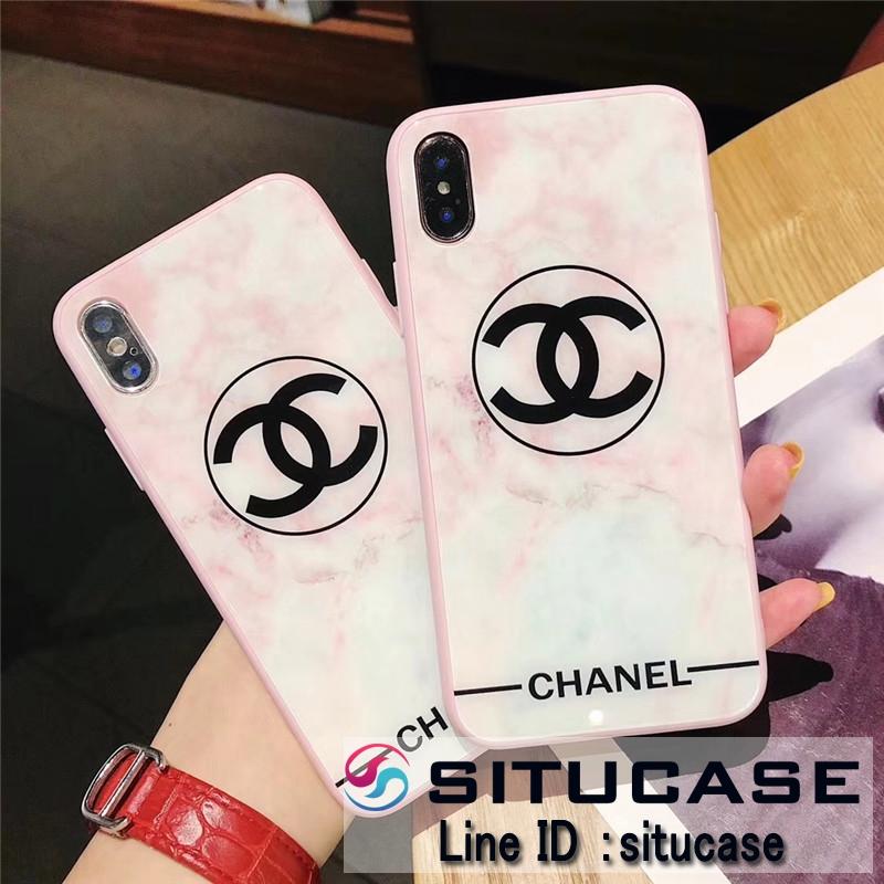 iPhoneケース ピンク 大理石 シャネル アイフォンケース ペア