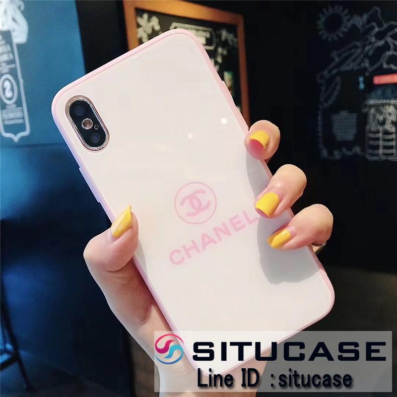 シャネル iphonexs 強化ガラスケース かわいいピンク