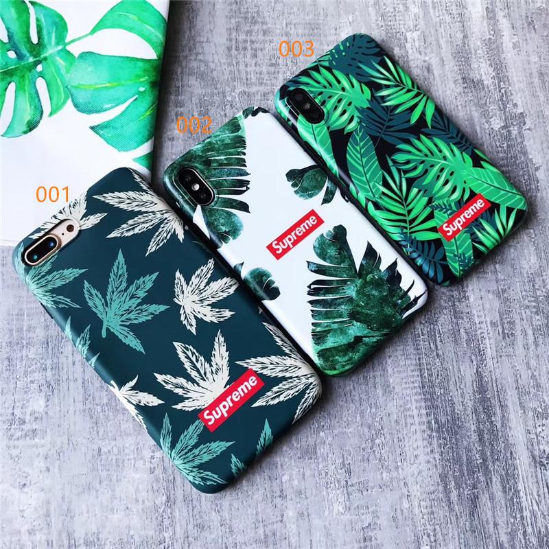 シュプリーム 芸能人愛用 iPhonexs ケース 緑の葉