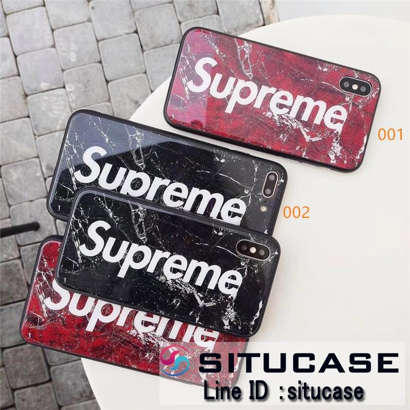個性的 Supreme iphonexs 強化ガラスケース 大理石