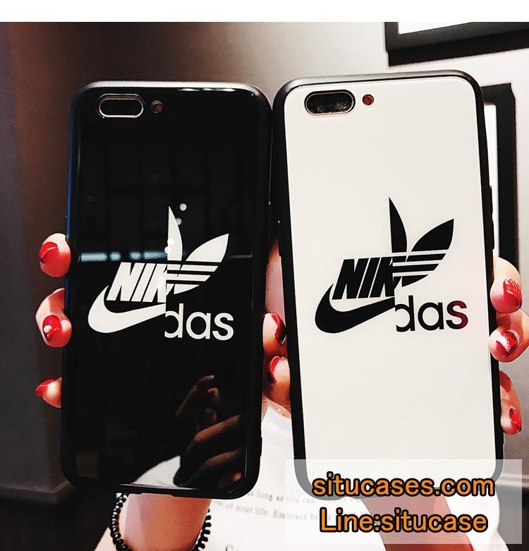ナイダス ナイキ アディダス コラボ Iphone12 ケース ナイキパロディ風 iphonexs/xs maxケース スポーツブランド iphone8/8plusカバー 高校生愛用 Nike Adidas 耐衝撃携帯ケース 黒 白 ペアルック アイフォンxrケース 強化ガラス